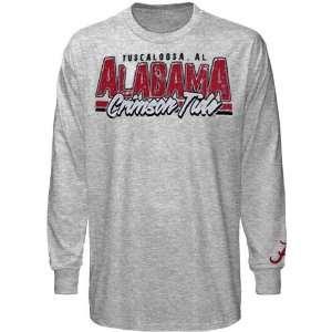 Alabama Crimson Tide Crackle Long Sleeve T Shirt   Ash