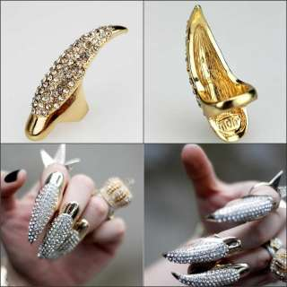 1pc Vintage punk gold claw ring finger nail rings full crystal Free