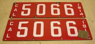 Vintage California Porcelain Pair License Plates Tags 1914 & 1915 w