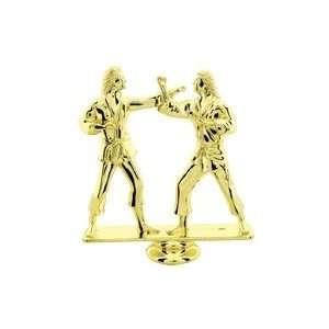 Gold 5 Female Dbl Action Karate Trophy Figure Trophy
