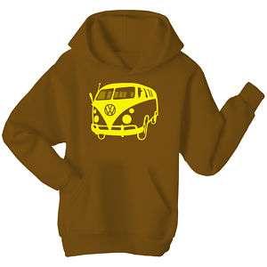 VW Camper Van Hoodie Brown All Sizes