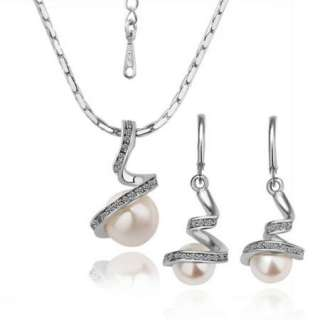 18K white Gold plated Swarovski white pearl sets earrings necklace