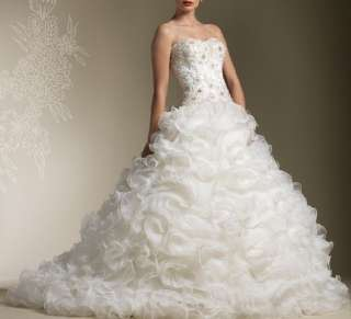 Beaded Sweetheart Organza Watteau Wedding Dress/Evening Gown