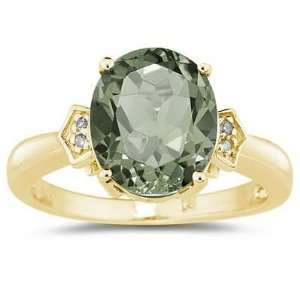 Oval Cut Green Amethyst & Diamond Ring in Yellow Gold SZUL Jewelry