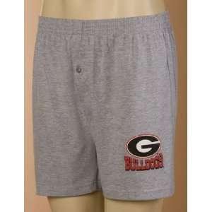 Georgia Bulldogs Gray Cotton Boxer Shorts:  Sports