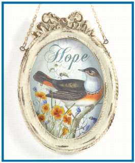 Vintage Style Bird Picture White Ribbon Frame Hanging Decor 12 Styles