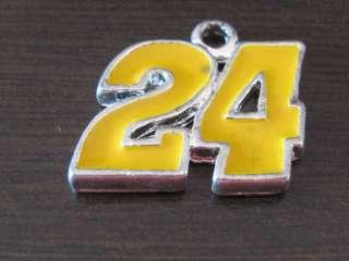 Nascar Jeff Gordon #24 Gold Silver Tone Charm 5/8