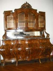 GREAT BOMBE ITALIAN ANTIQUE MARBLE TOP SIDEBOARD