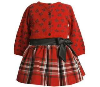 Bonnie Jean Girls Fall Winter Holiday Red Black Bows Skirt & Sweater
