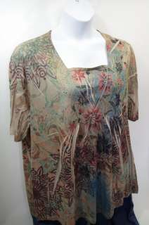 Liz & Me NEW Plus Size Shirt Top Sublimation Rhinestones Floral 1x 5x