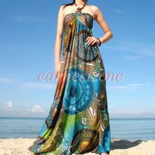 Prom Formal Wedding Bridesmaid Cocktail Hippie Long Maxi Dress