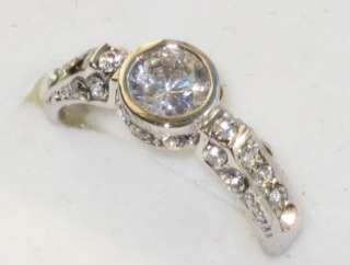 CT BEZEL SET SIMULATED DIAMOND ENGAGEMENT RING WHITE GOLD HGE ROS20