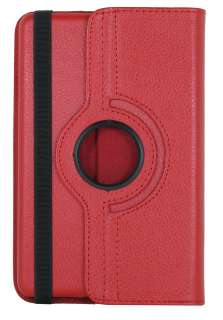 Kindle Fire Leather 360 Rotating Case Swivel Stand Cover   Red