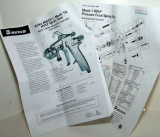 Binks Mach 1 BBR HVLP Model 98 1130 Paint Spray Gun Complete Kit