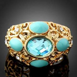 Arinna Swarovski Crystal blue Gold GP chic fashion Ring