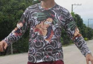 Irezumi Yakuza Tattoo Japan Geisha Girl LS T Shirt XL
