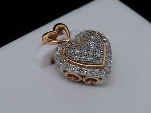 LADIES WHITE ROSE GOLD DIAMOND PENDANT HEART LOVE CHARM
