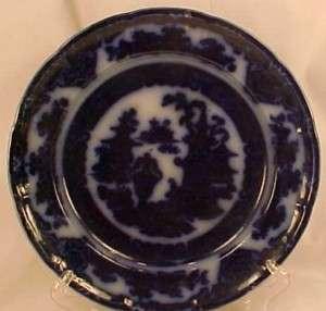 Antique THE TEMPLE FLOW BLUE PLATE Podmore Walker & Co