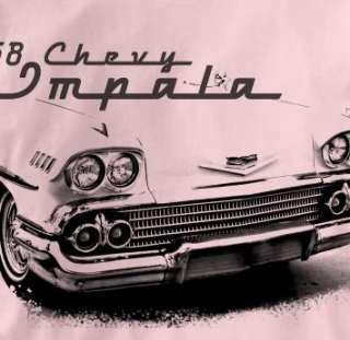 Chevy Impala 1958 Classic PINK Chevrolet Car T Shirt XL
