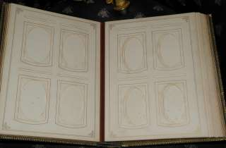 Antique Green Hand Tooled Leather Photo Album NR