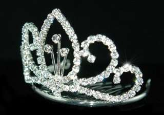 Wedding Prom Flower Girl Crystal Mini Tiara Comb T1253