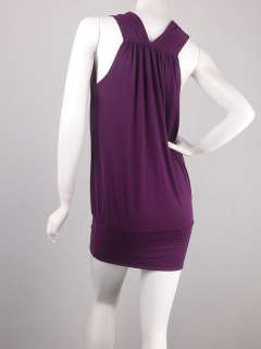 Purple Drape Sleeveless BandedHip Mini Dress Tunic L