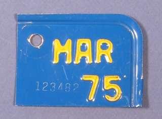 1975 CALIFORNIA LICENSE PLATE TAB 123482