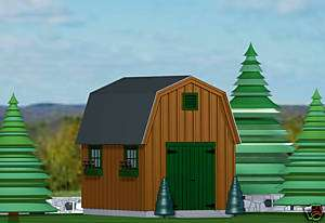 SHED PLANS BLUEPRINTS 12 ft x 16 ft GAMBREL STYLE