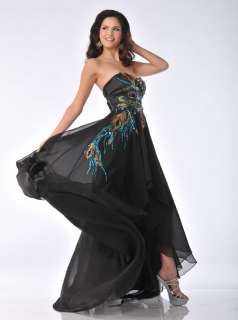 Long Chiffon Peacock Inspired Formal Prom Dresses Black Tie Event