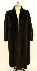 Fur Coat Female Pelt Full Length Black Diamond Furs Size Large 16 LN