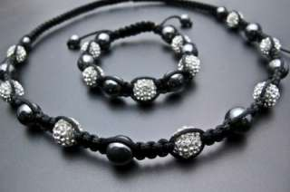CRYSTAL 10MM PAVE DISCO BALL BEAD SHAMBALLA BRACELET & NECKLACE SET