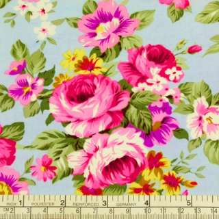 PINK ROSES FLOWER IN BLUE VINTAGE RETRO PRINT 100% COTTON QUILT FABRIC