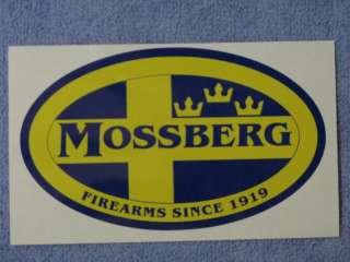 RARE MOSSBERG FIREARMS TRIPLE CROWN DECAL STICKER BLUE YELLOW RIFLE