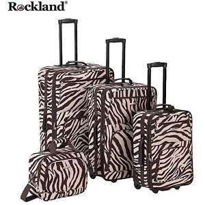 Rockland Brown ZEBRA Print 4 pc Luggage set Rolling NEW