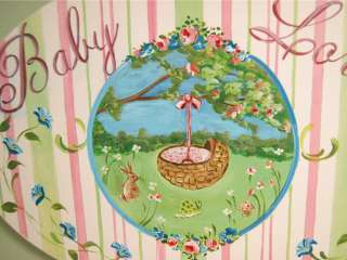 Shabby Cottage Chic Baby Wall Plaque Sign Pink Oval