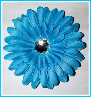 RHINESTONE GERBER DAISY FLOWER W/CLIP TURQUOISE BLUE