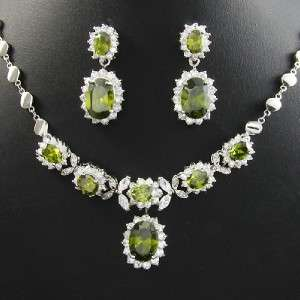 Plated Faux Green Peridot Necklace Earring Jewellery Gift Set