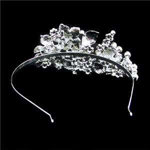 Wedding Flower Head Hair Band Clear Swarovski Crystal