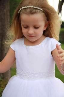 WHITE Flower Girl TUTU Christening Baptism Dress 5 6