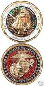 MARINE CORPS PUT ON WHOLE ARMOR OF GOD CHALLENGE COIN