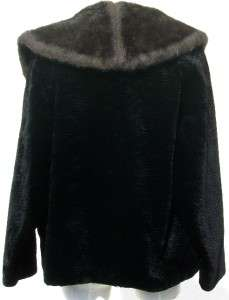 Vtg Sheared Chenille/Velvet Jacket/Coat w/Faux Fur Collar Black & Gray