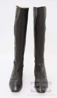 Gucci Black Leather And Gold Zip Knee High Flat Boots Size 9.5