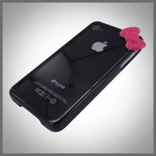 FOR IPHONE 4 4G 4S BLACK HELLO KITTY W BOW POLYCARBONATE BUMPER CASE
