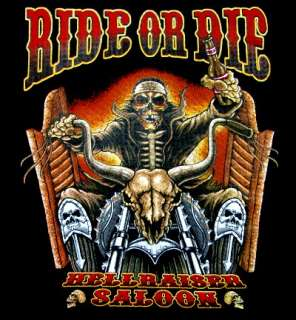 RIDE OR DIE HELLRAISER SALOON SKULL BIKER T SHIRT WS207