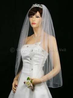 1T White Wedding Bridal Fingertip Rhinestone Veil
