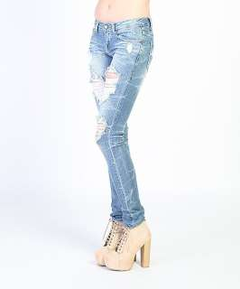 Heavy DESTROYED SKINNY JEANS Sexy Low rise Ripped Straight DENIM PANTS