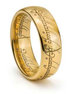 8MM Tungsten Mens Gold Lord LOTR Laser Engraved Band One Ring