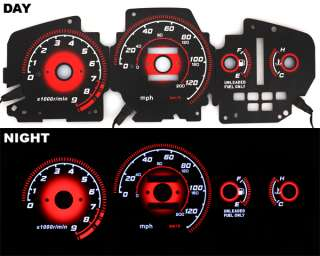 92 95 EG Honda Civic EX RED Reverse Glow Gauge Type R BLACK AT