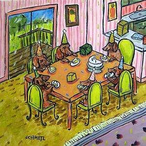 DACHSHUND BIRTHDAY PARTY DOG animal art tile coaster