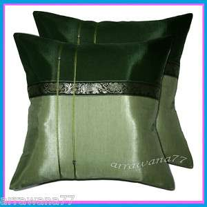 Thai Couch Cushion Pillow Cover Throw Elephant Green